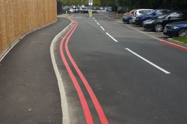 Red double line road markings